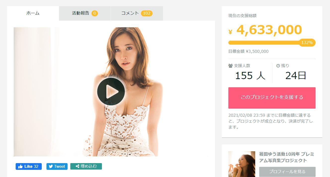 篠田优(篠田ゆう)募资筹备个人写真集仅花不到一周达标!