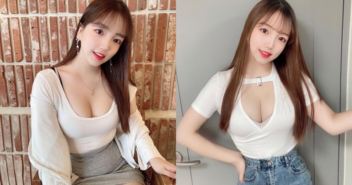 韩国甜心윤블리 Yoonbly「车头灯很大颗」,吃烤肉时美乳把上衣撑开了